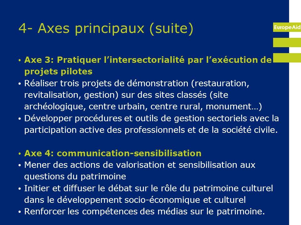 EuropeAid 4- Axes principaux (suite) Axe 3: Pratiquer lintersectorialité par lexécution de projets pilotes Réaliser trois projets de démonstration (re