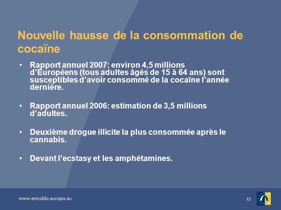 13 Nouvelle hausse de la consommation de cocaïne Rapport annuel 2007: environ 4,5 millions dEuropéens (tous adultes âgés de 15 à 64 ans) sont susceptibles davoir consommé de la cocaïne lannée dernière.