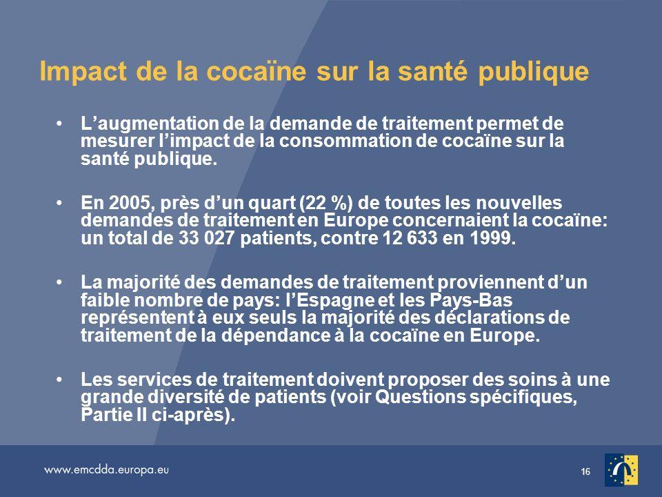 16 Impact de la cocaïne sur la santé publique Laugmentation de la demande de traitement permet de mesurer limpact de la consommation de cocaïne sur la santé publique.