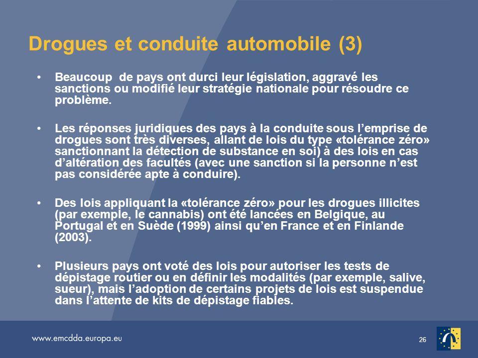 26 Drogues et conduite automobile (3) Beaucoup de pays ont durci leur législation, aggravé les sanctions ou modifié leur stratégie nationale pour résoudre ce problème.