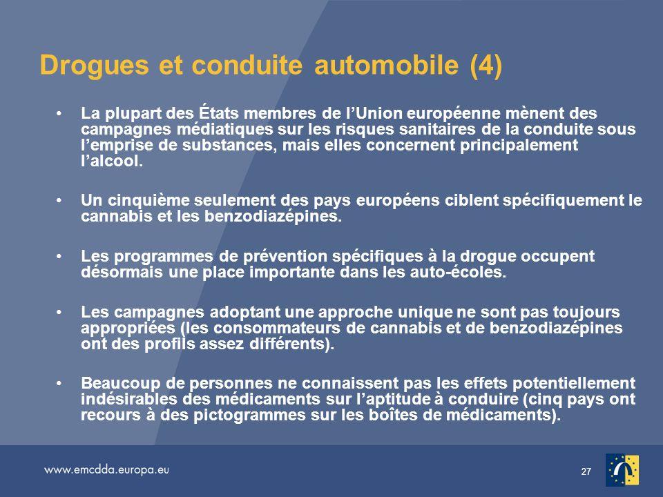 27 Drogues et conduite automobile (4) La plupart des États membres de lUnion européenne mènent des campagnes médiatiques sur les risques sanitaires de la conduite sous lemprise de substances, mais elles concernent principalement lalcool.