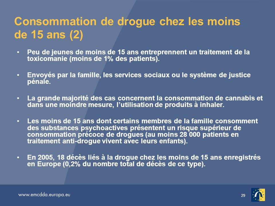 29 Consommation de drogue chez les moins de 15 ans (2) Peu de jeunes de moins de 15 ans entreprennent un traitement de la toxicomanie (moins de 1% des patients).