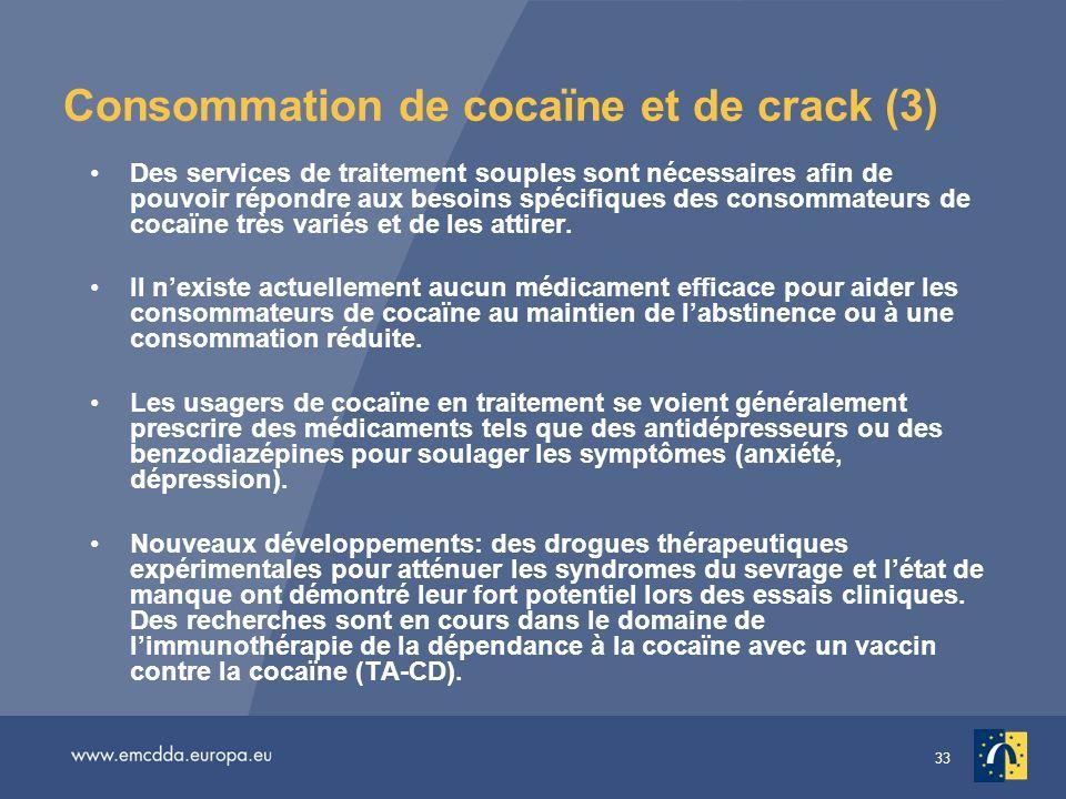 33 Consommation de cocaïne et de crack (3) Des services de traitement souples sont nécessaires afin de pouvoir répondre aux besoins spécifiques des consommateurs de cocaïne très variés et de les attirer.