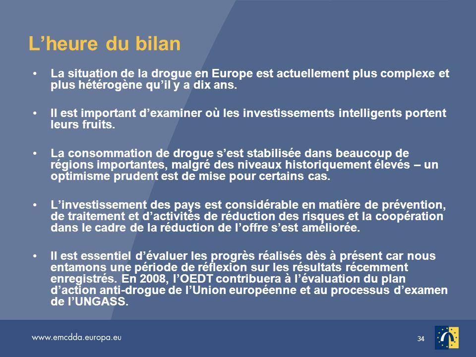 34 Lheure du bilan La situation de la drogue en Europe est actuellement plus complexe et plus hétérogène quil y a dix ans.