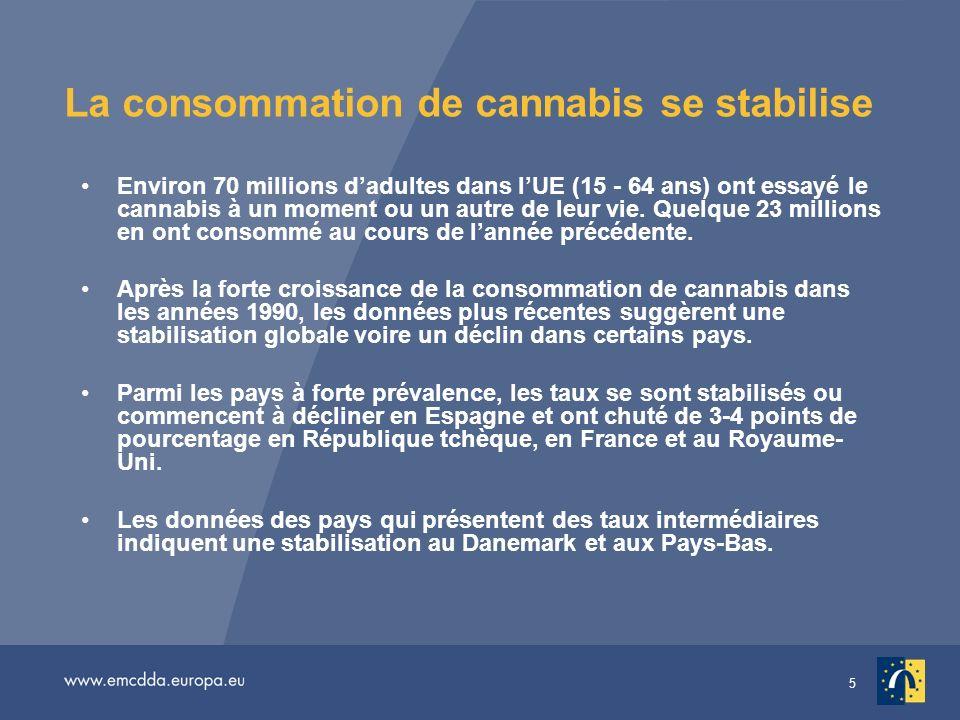 5 La consommation de cannabis se stabilise Environ 70 millions dadultes dans lUE (15 - 64 ans) ont essayé le cannabis à un moment ou un autre de leur vie.