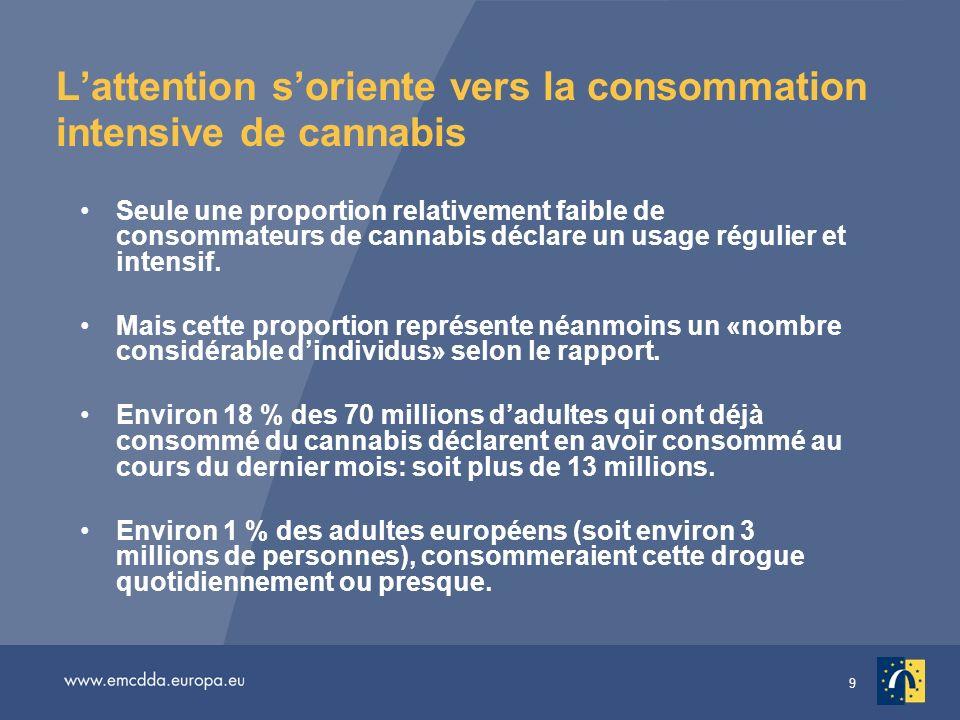 9 Lattention soriente vers la consommation intensive de cannabis Seule une proportion relativement faible de consommateurs de cannabis déclare un usage régulier et intensif.