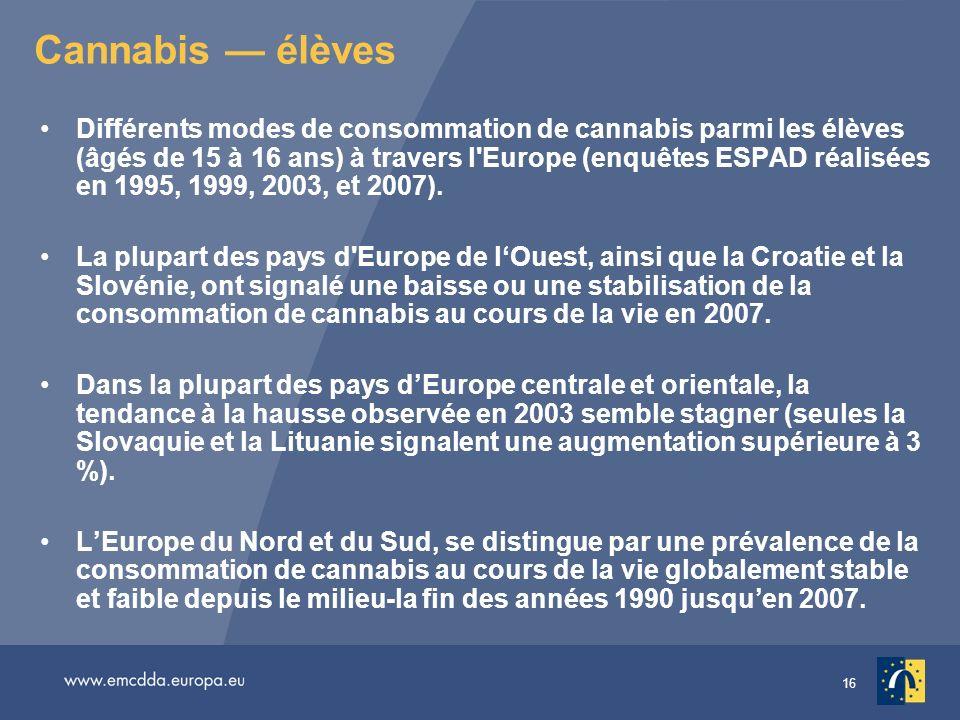 16 Cannabis élèves Différents modes de consommation de cannabis parmi les élèves (âgés de 15 à 16 ans) à travers l'Europe (enquêtes ESPAD réalisées en