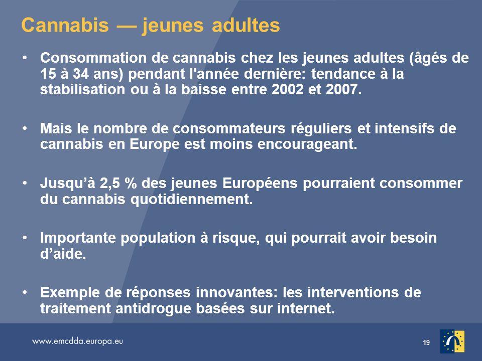 19 Cannabis jeunes adultes Consommation de cannabis chez les jeunes adultes (âgés de 15 à 34 ans) pendant l'année dernière: tendance à la stabilisatio