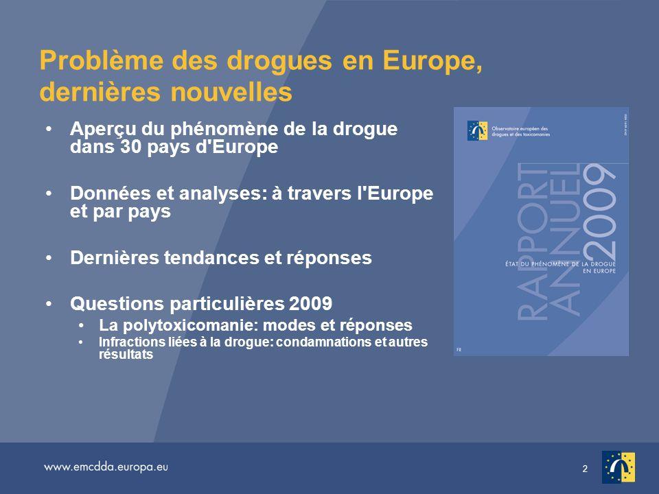 2 Problème des drogues en Europe, dernières nouvelles Aperçu du phénomène de la drogue dans 30 pays d'Europe Données et analyses: à travers l'Europe e