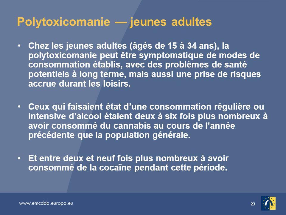 23 Polytoxicomanie jeunes adultes Chez les jeunes adultes (âgés de 15 à 34 ans), la polytoxicomanie peut être symptomatique de modes de consommation é
