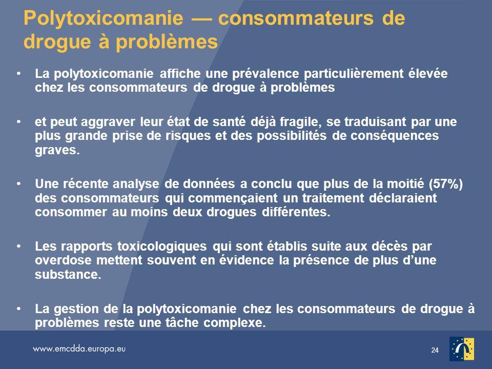24 Polytoxicomanie consommateurs de drogue à problèmes La polytoxicomanie affiche une prévalence particulièrement élevée chez les consommateurs de dro