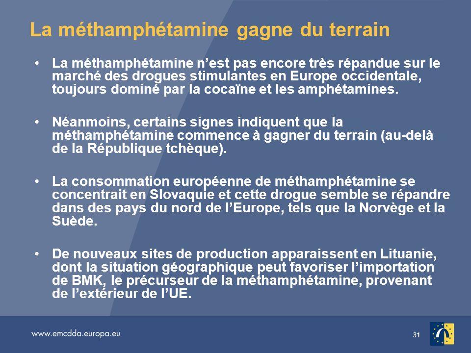 31 La méthamphétamine gagne du terrain La méthamphétamine nest pas encore très répandue sur le marché des drogues stimulantes en Europe occidentale, t