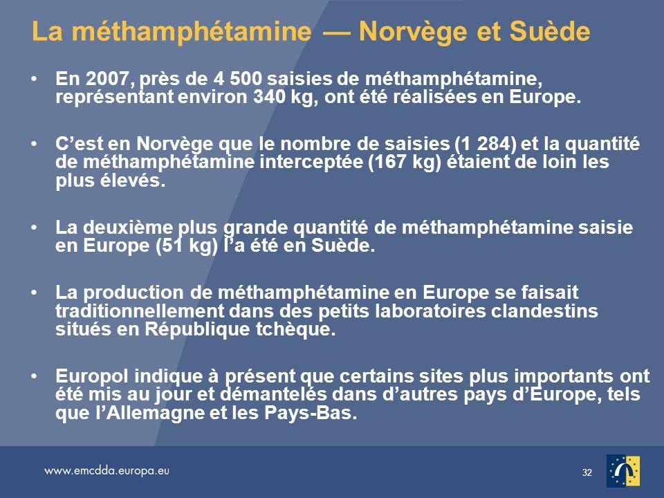 32 La méthamphétamine Norvège et Suède En 2007, près de 4 500 saisies de méthamphétamine, représentant environ 340 kg, ont été réalisées en Europe. Ce