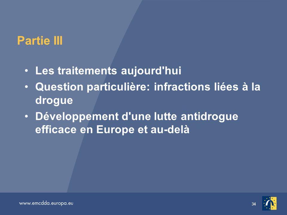 34 Partie III Les traitements aujourd'hui Question particulière: infractions liées à la drogue Développement d'une lutte antidrogue efficace en Europe