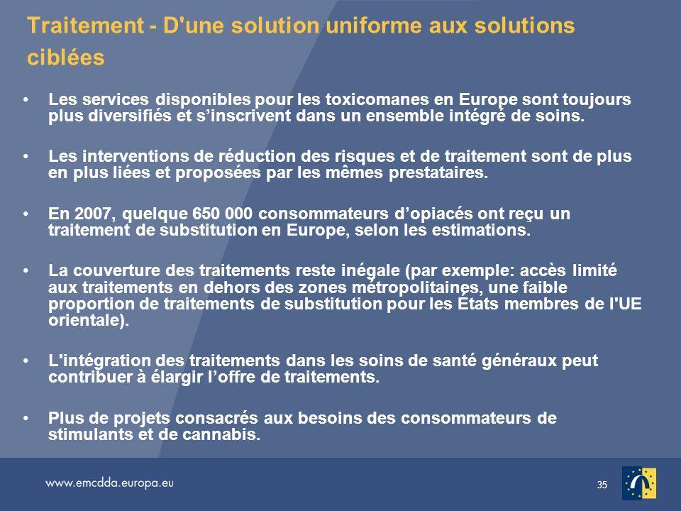 35 Traitement - D'une solution uniforme aux solutions ciblées Les services disponibles pour les toxicomanes en Europe sont toujours plus diversifiés e