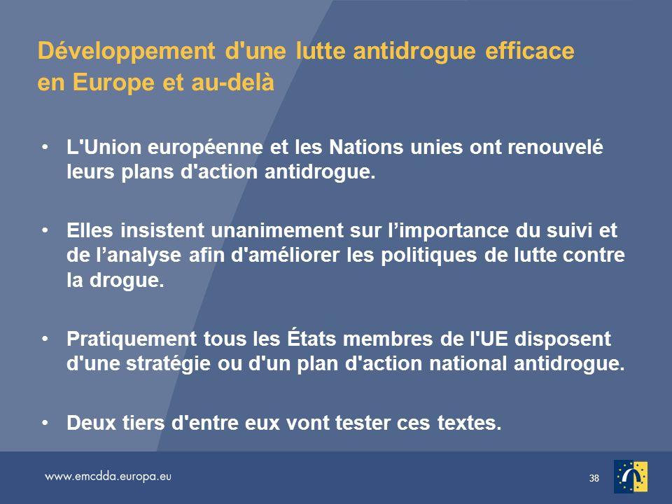 38 Développement d'une lutte antidrogue efficace en Europe et au-delà L'Union européenne et les Nations unies ont renouvelé leurs plans d'action antid