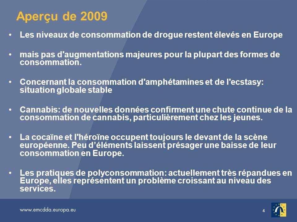 4 Aperçu de 2009 Les niveaux de consommation de drogue restent élevés en Europe mais pas d'augmentations majeures pour la plupart des formes de consom