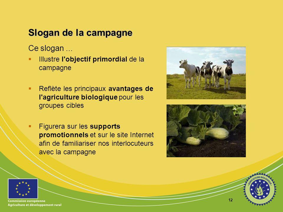 12 Slogan de la campagne Ce slogan... Illustre l'objectif primordial de la campagne Reflète les principaux avantages de l'agriculture biologique pour