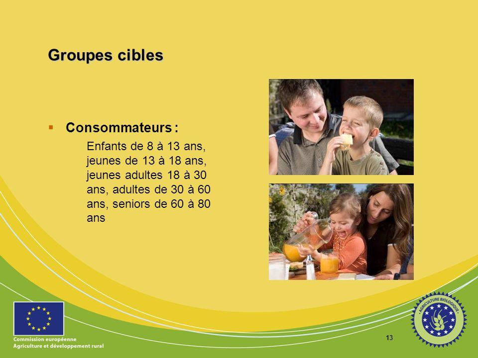 13 Groupes cibles Consommateurs : Enfants de 8 à 13 ans, jeunes de 13 à 18 ans, jeunes adultes 18 à 30 ans, adultes de 30 à 60 ans, seniors de 60 à 80