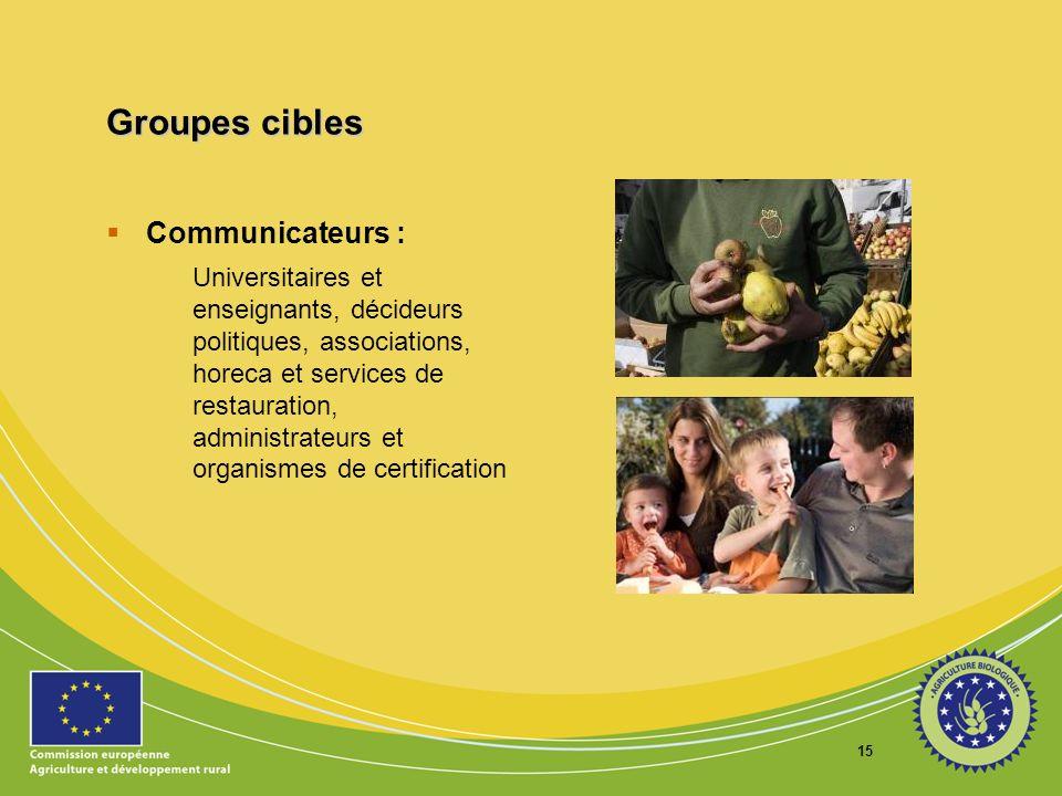 15 Groupes cibles Communicateurs : Universitaires et enseignants, décideurs politiques, associations, horeca et services de restauration, administrate