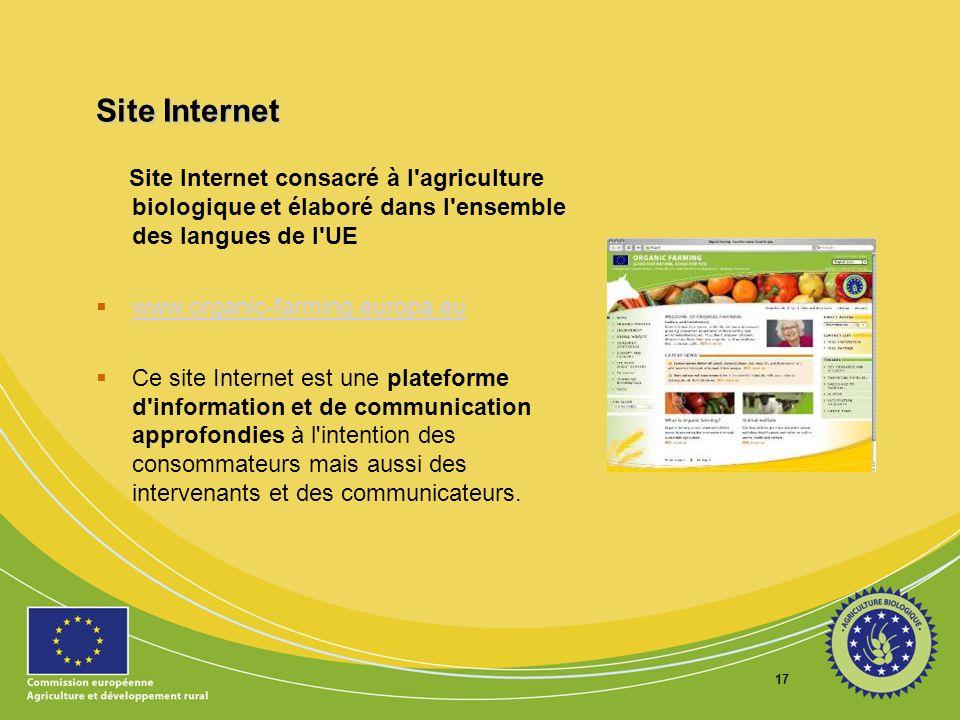 17 Site Internet Site Internet consacré à l'agriculture biologique et élaboré dans l'ensemble des langues de l'UE www.organic-farming.europa.eu Ce sit