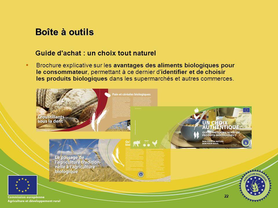22 Guide d'achat : un choix tout naturel Brochure explicative sur les avantages des aliments biologiques pour le consommateur, permettant à ce dernier