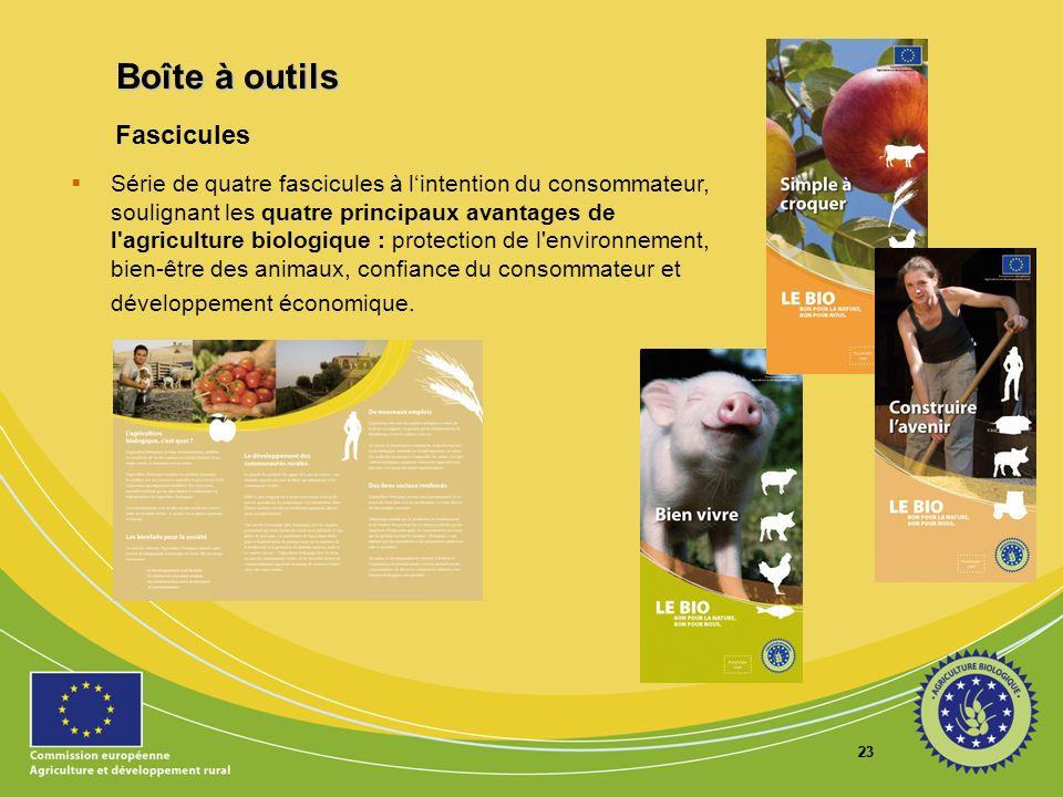 23 Fascicules Série de quatre fascicules à lintention du consommateur, soulignant les quatre principaux avantages de l'agriculture biologique : protec