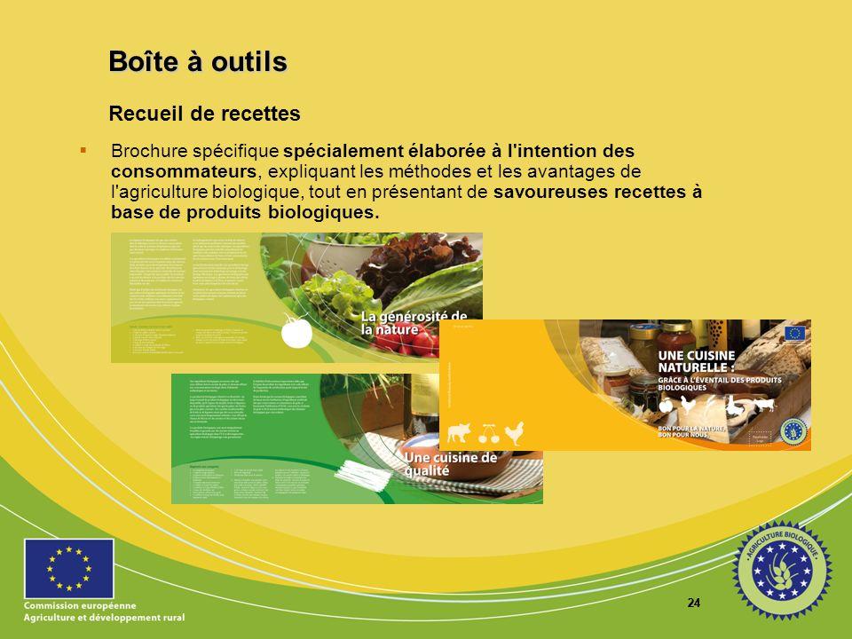 24 Recueil de recettes Brochure spécifique spécialement élaborée à l'intention des consommateurs, expliquant les méthodes et les avantages de l'agricu