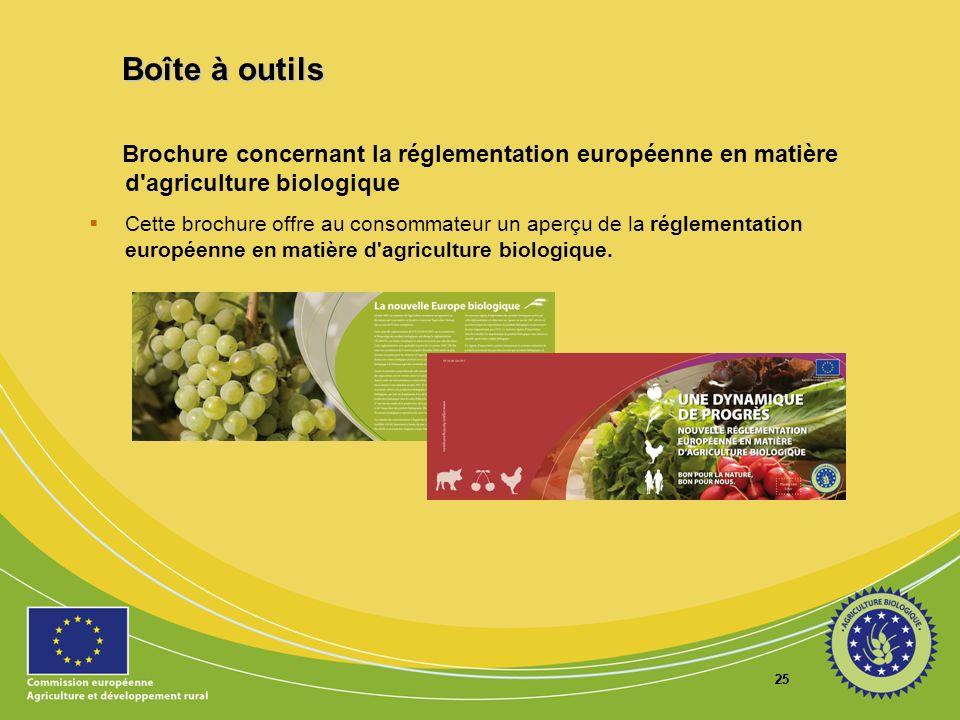 25 Brochure concernant la réglementation européenne en matière d'agriculture biologique Cette brochure offre au consommateur un aperçu de la réglement