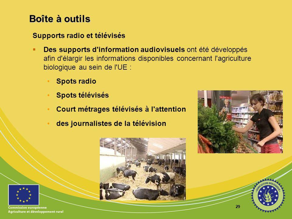 29 Supports radio et télévisés Des supports d'information audiovisuels ont été développés afin d'élargir les informations disponibles concernant l'agr
