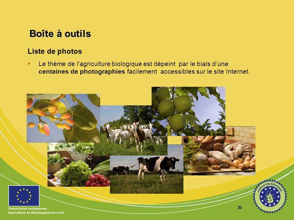 30 Boîte à outils Liste de photos Le thème de l'agriculture biologique est dépeint par le biais dune centaines de photographies facilement accessibles