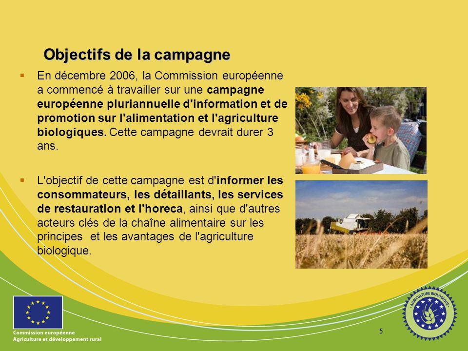 6 Objectifs de la campagne Elle vise en outre à accroître la connaissance et la reconnaissance des produits biologiques par le consommateur, plus particulièrement le logo européen.