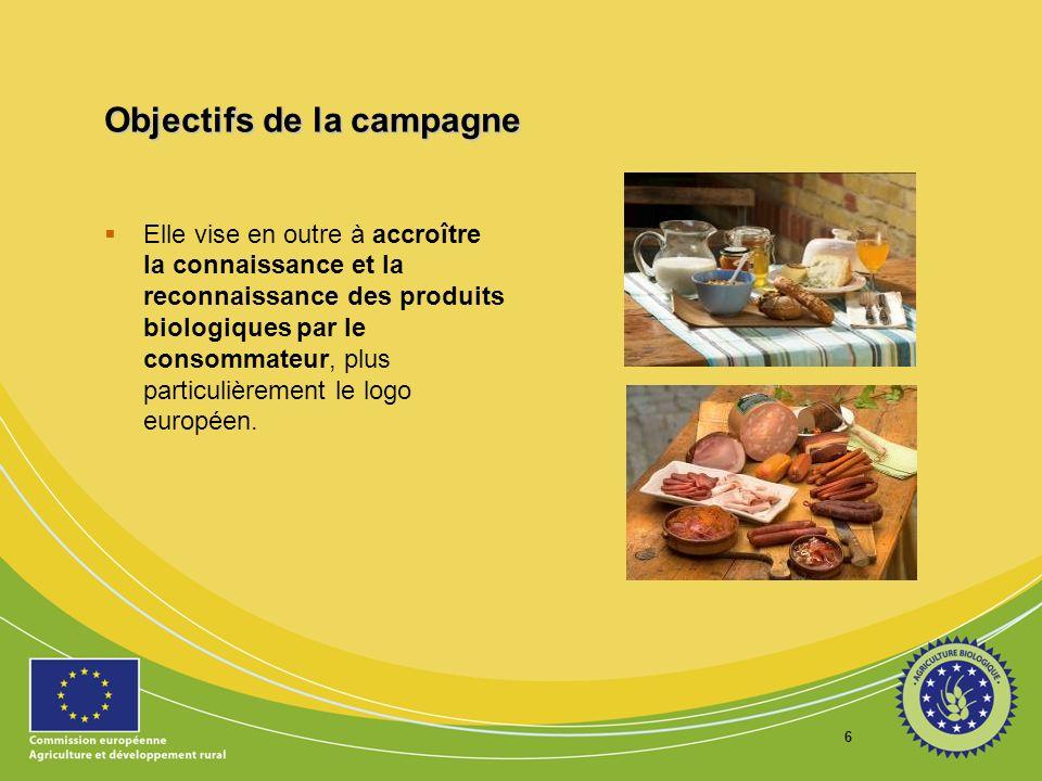 6 Objectifs de la campagne Elle vise en outre à accroître la connaissance et la reconnaissance des produits biologiques par le consommateur, plus part