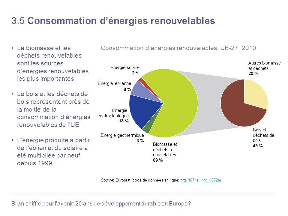 Bilan chiffré pour l'avenir: 20 ans de développement durable en Europe? 3.5 Consommation dénergies renouvelables La biomasse et les déchets renouvelab