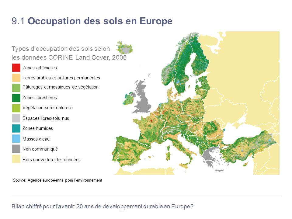 Bilan chiffré pour l'avenir: 20 ans de développement durable en Europe? 9.1 Occupation des sols en Europe Source: Agence européenne pour l'environneme