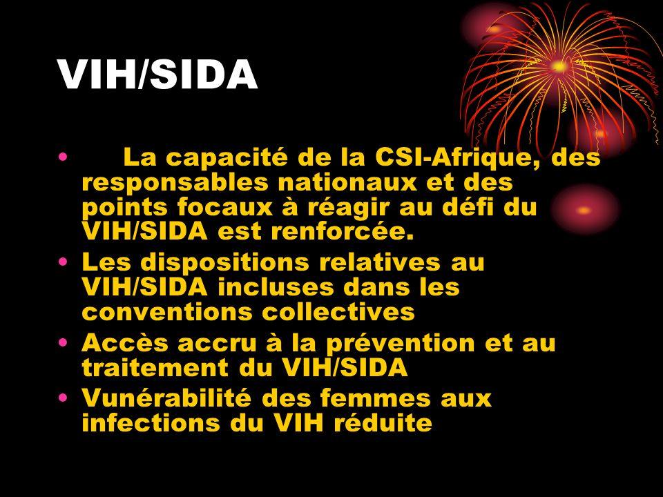 VIH/SIDA La capacité de la CSI-Afrique, des responsables nationaux et des points focaux à réagir au défi du VIH/SIDA est renforcée. Les dispositions r