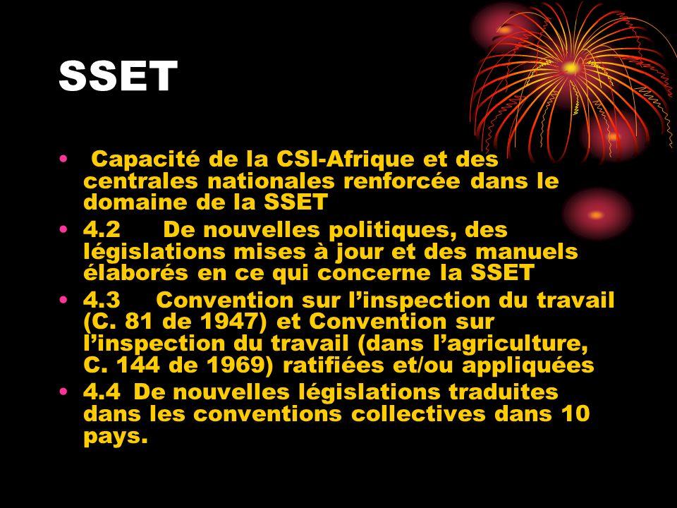SSET Capacité de la CSI-Afrique et des centrales nationales renforcée dans le domaine de la SSET 4.2 De nouvelles politiques, des législations mises à