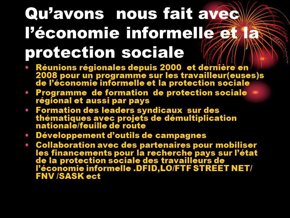 Quavons nous fait avec léconomie informelle et la protection sociale Réunions régionales depuis 2000 et dernière en 2008 pour un programme sur les tra
