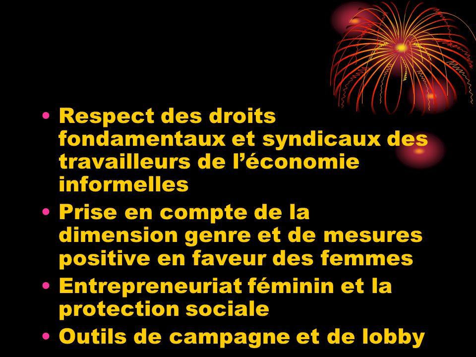 Respect des droits fondamentaux et syndicaux des travailleurs de léconomie informelles Prise en compte de la dimension genre et de mesures positive en