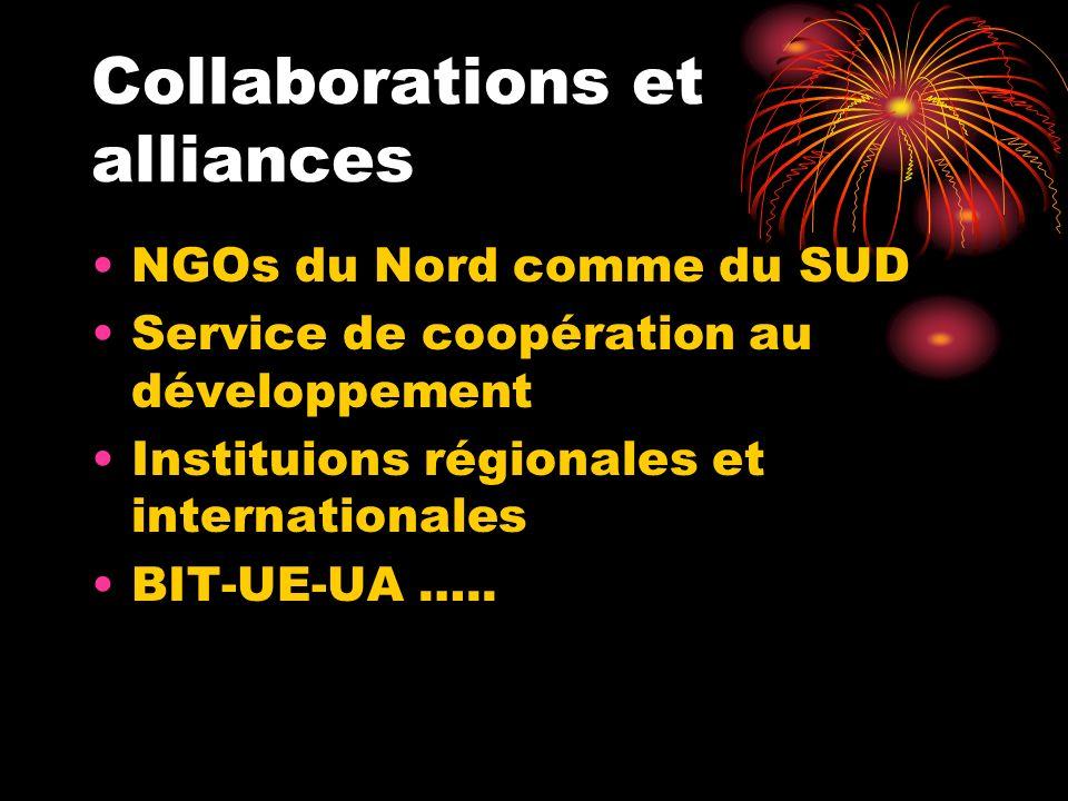 Collaborations et alliances NGOs du Nord comme du SUD Service de coopération au développement Instituions régionales et internationales BIT-UE-UA …..