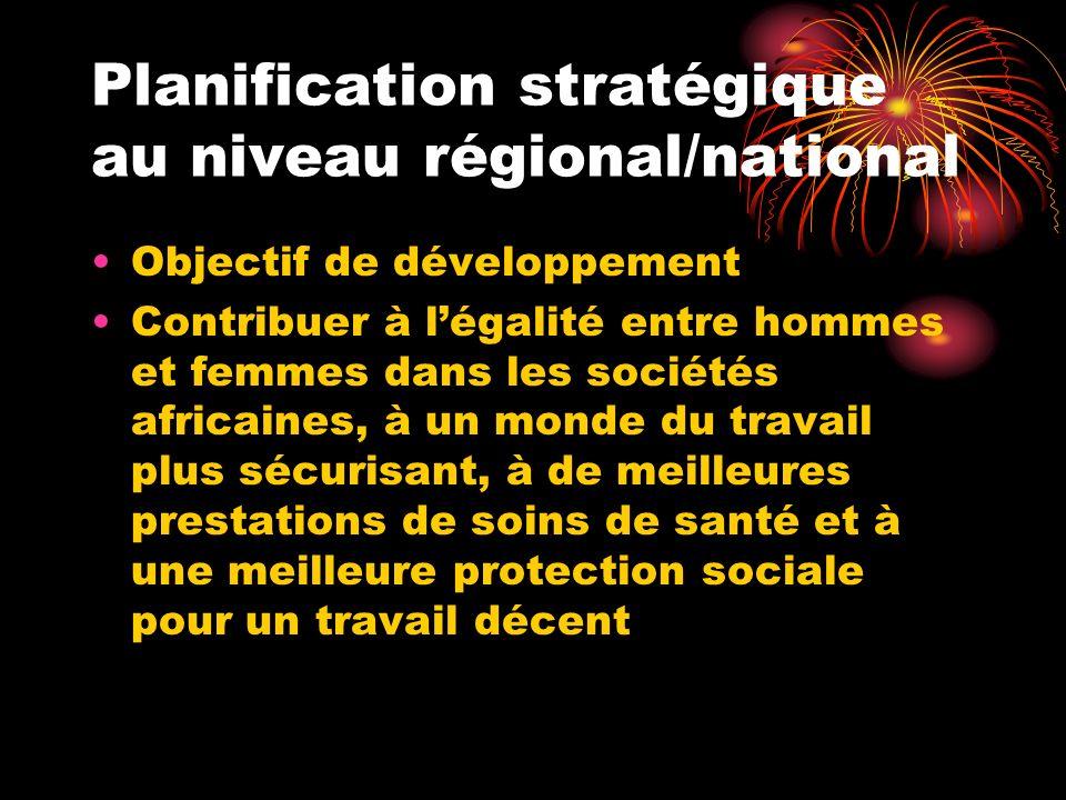 Planification stratégique au niveau régional/national Objectif de développement Contribuer à légalité entre hommes et femmes dans les sociétés africai