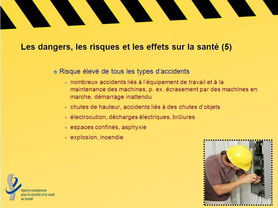 Les dangers, les risques et les effets sur la santé (5) Risque élevé de tous les types daccidents nombreux accidents liés à léquipement de travail et