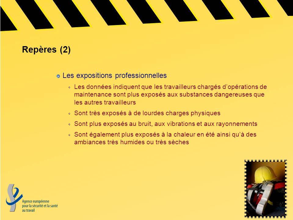 Repères (2) Les expositions professionnelles Les données indiquent que les travailleurs chargés dopérations de maintenance sont plus exposés aux subst
