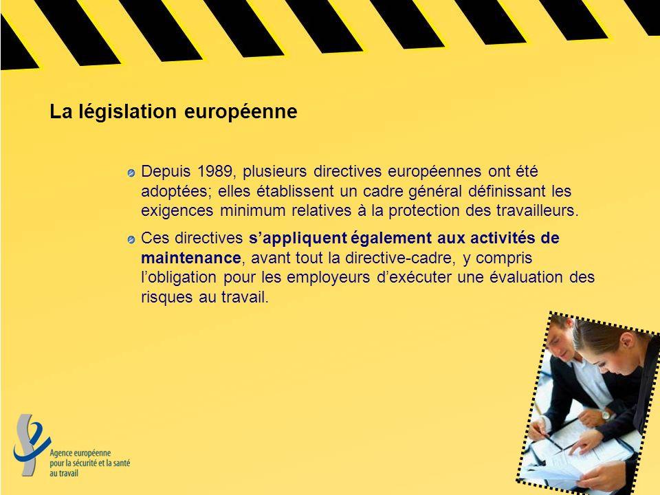 La législation européenne Depuis 1989, plusieurs directives européennes ont été adoptées; elles établissent un cadre général définissant les exigences