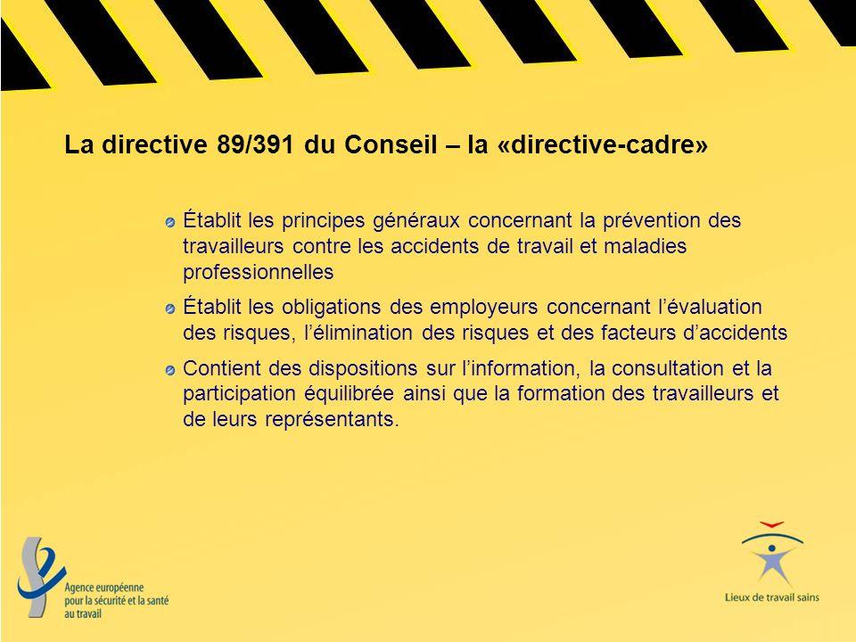 La directive 89/391 du Conseil – la «directive-cadre» Établit les principes généraux concernant la prévention des travailleurs contre les accidents de