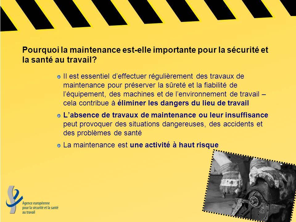 Repères (1) Des taux daccidents élevés Les données EUROSTAT font apparaître les chiffres suivants de 15 à 20 % (selon les pays) du nombre total daccidents et de 10 à 15% des accidents mortels sont liés à des opérations de maintenance.