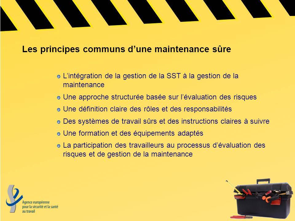 Les principes communs dune maintenance sûre Lintégration de la gestion de la SST à la gestion de la maintenance Une approche structurée basée sur léva