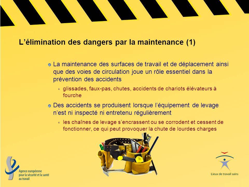 Lélimination des dangers par la maintenance (2) Les accidents de travail mortels causés par des contacts avec lélectricité sont nombreux Les installations électriques défectueuses (câbles, prises, équipements) peuvent causer des décharges et des brûlures, des incendies et même des explosions