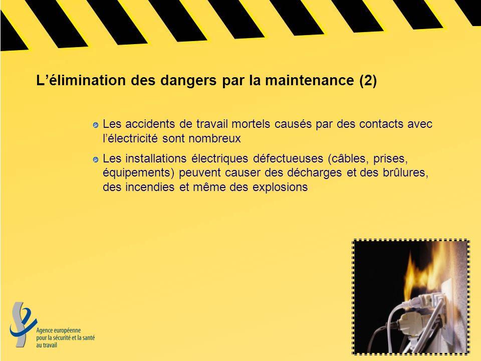 Lélimination des dangers par la maintenance (2) Les accidents de travail mortels causés par des contacts avec lélectricité sont nombreux Les installat