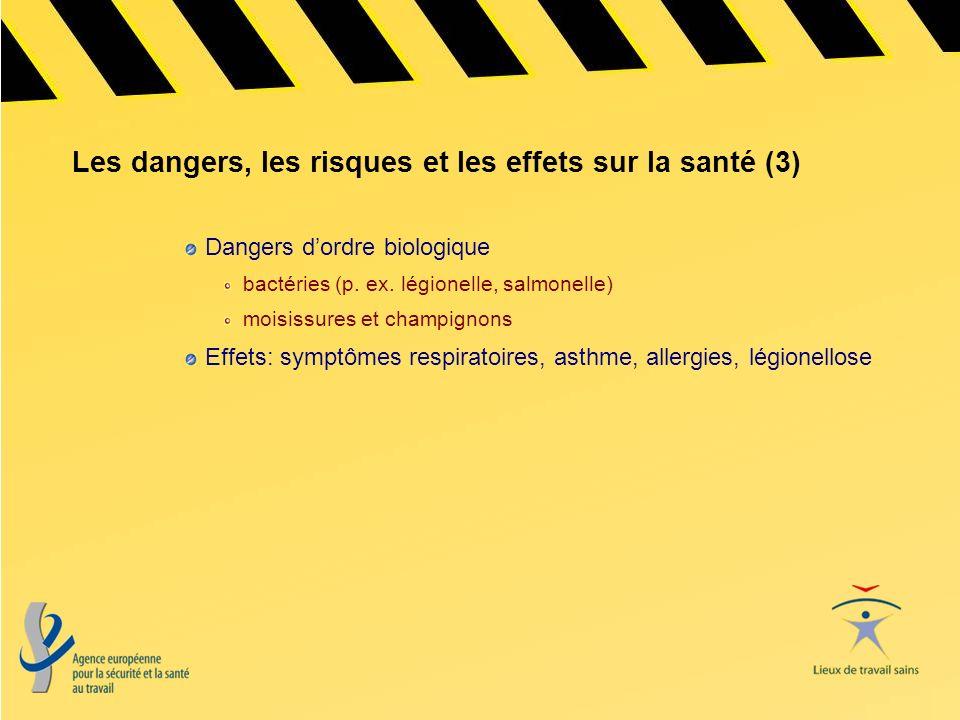 Les dangers, les risques et les effets sur la santé (3) Dangers dordre biologique bactéries (p. ex. légionelle, salmonelle) moisissures et champignons